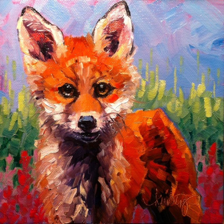 """""""FOX IN THE FIREWEED"""" original fine art by Kristy Tracy"""