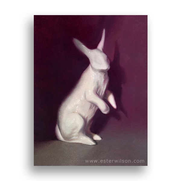 """White Rabbit"" original fine art by Ester  Iva Wilson"