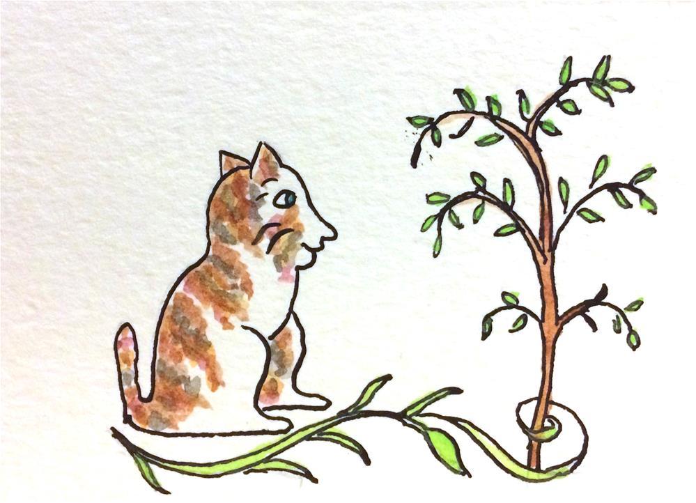 """Happy Cat"" original fine art by Susan Medyn"
