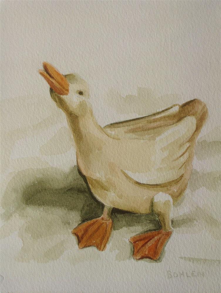 """""""Puddle duck"""" original fine art by Priscilla Bohlen"""