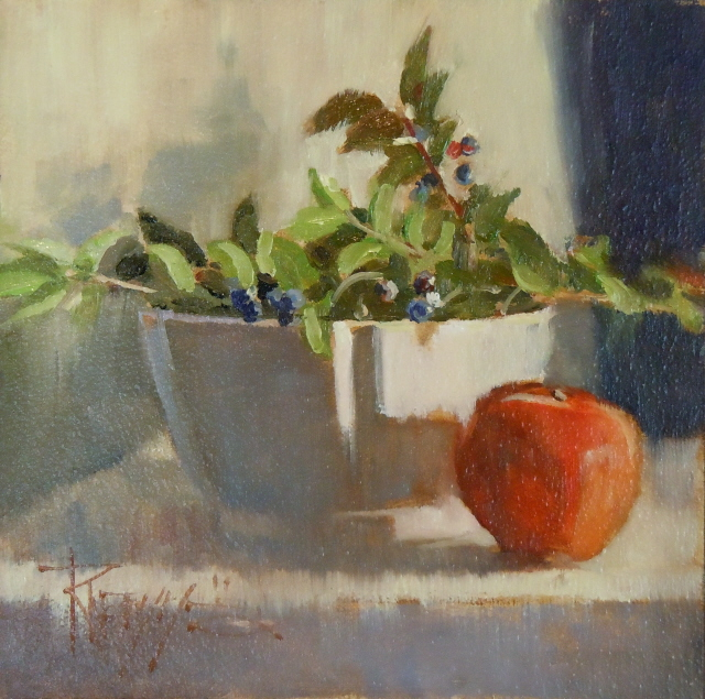 """White Bowl with Huckelberries  oil still life painting"" original fine art by Robin Weiss"