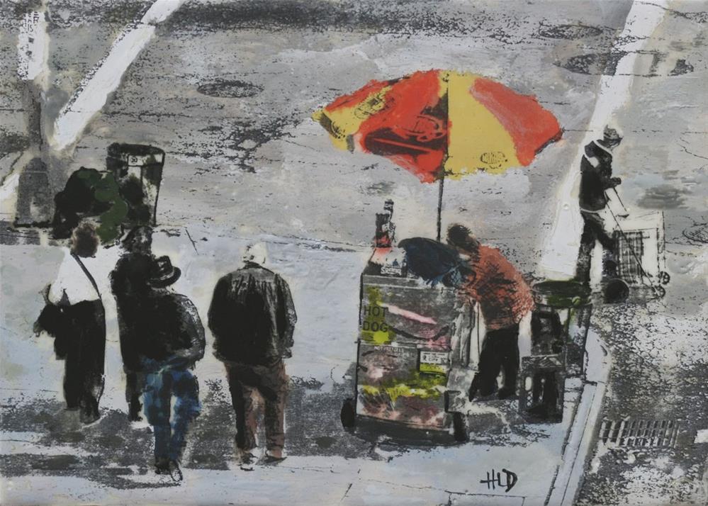 """""""Hot Dog Vendor"""" original fine art by Heather Douglas"""