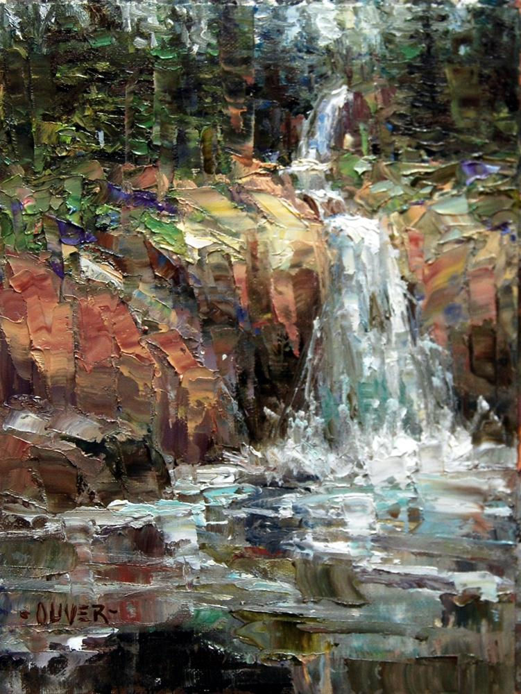 """""""Waterfall at Sylvan Pass - Yellowstone."""" original fine art by Julie Ford Oliver"""