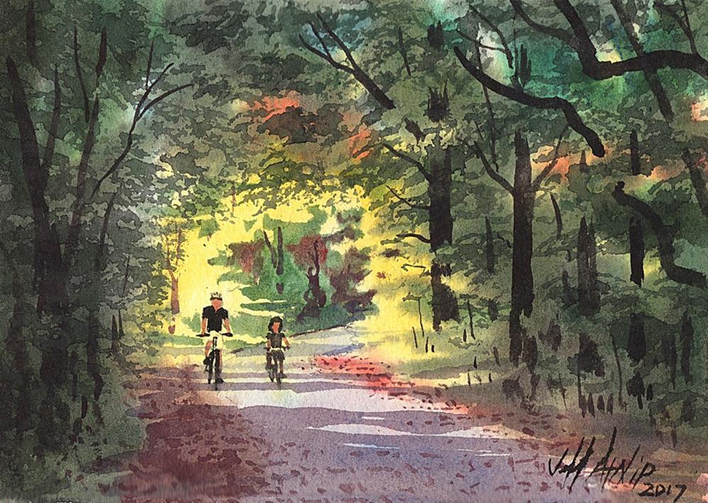 """Wolf River Trails Outing"" original fine art by Jeff Atnip"
