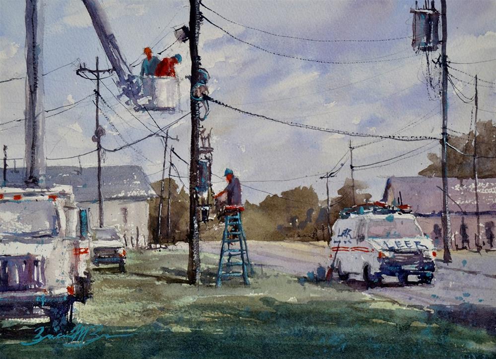 """""""Men at Work"""" original fine art by Brienne M Brown"""