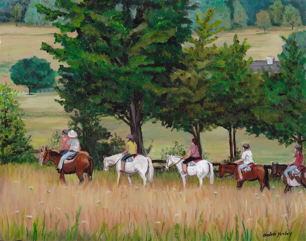 """Horseback Tour of Gettysburg Battlefield"" original fine art by Charlotte Yealey"