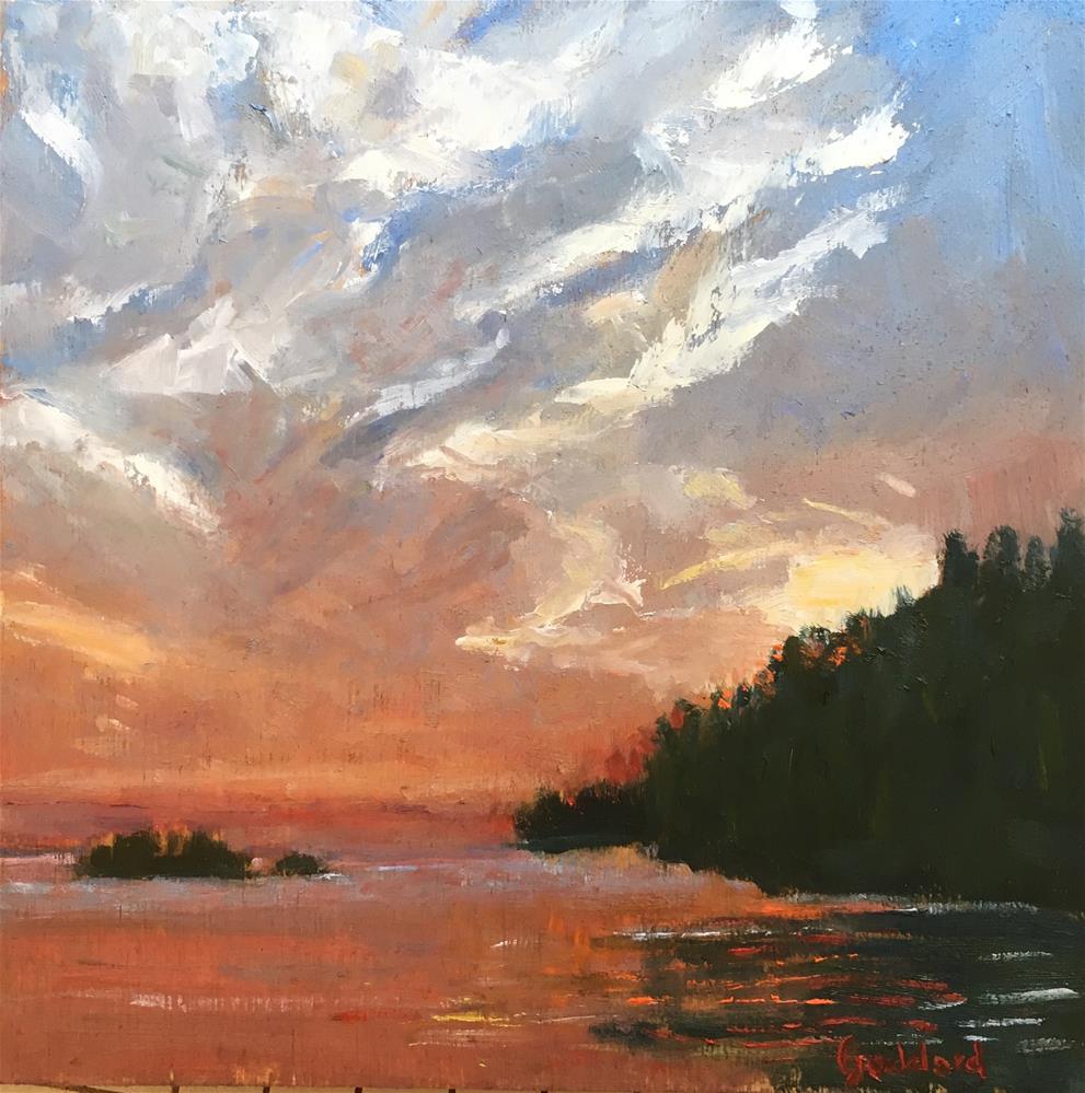 """Red Sky at Night"" original fine art by Shari Goddard Shambaugh"