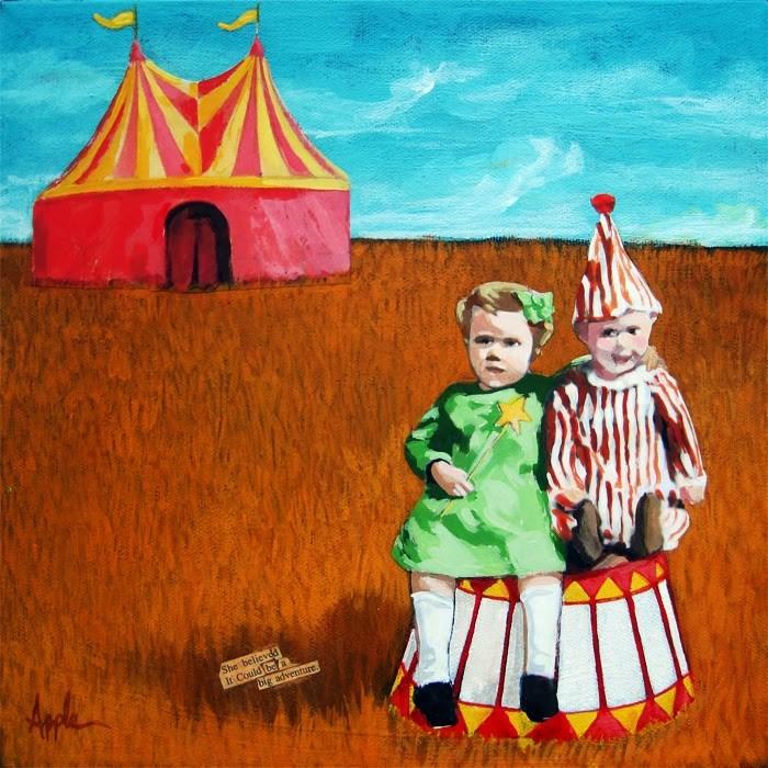 """Big Dreams Circus adventure mixed media painting"" original fine art by Linda Apple"