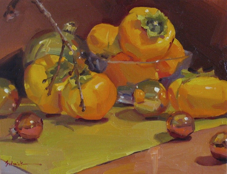 """""""Persimmon and Christmas Ornaments not my most original painting title to date, but hey."""" original fine art by Sarah Sedwick"""