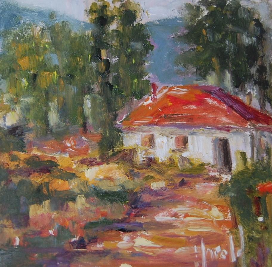 """Country Home"" original fine art by Deborah Harold"
