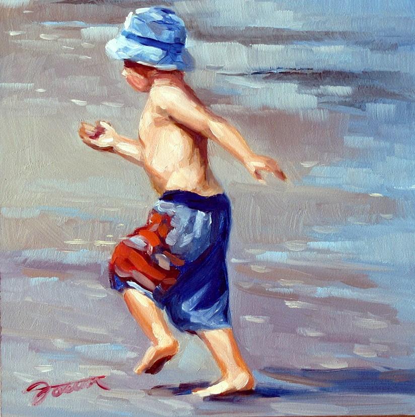 """Treasure Hunting--Beach Babies Series"" original fine art by Joanna Bingham"