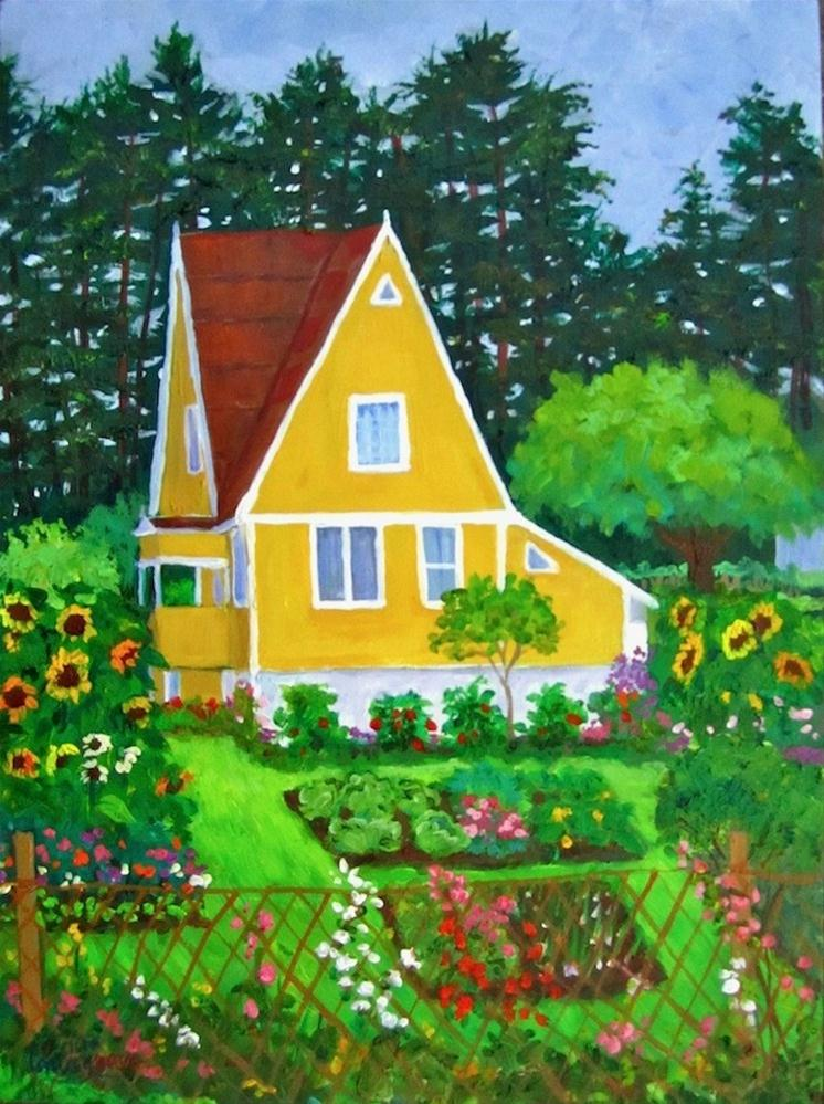 """""""The Yellow House in Summer"""" original fine art by Patricia Musgrave"""
