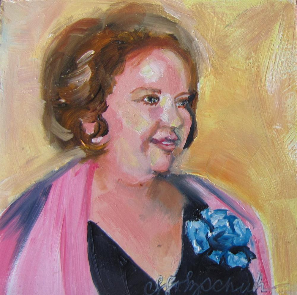 """Patty 4x4 oil portrait sold"" original fine art by Christine Holzschuh"
