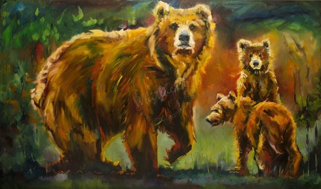 """""""FAMILY LOVE BEAR DIANE WHITEHEAD FINE ART OIL PAINTING"""" original fine art by Diane Whitehead"""