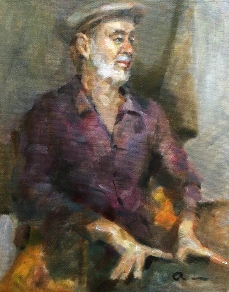 """""""A man wear a purple shirt"""" original fine art by Anny Kong"""