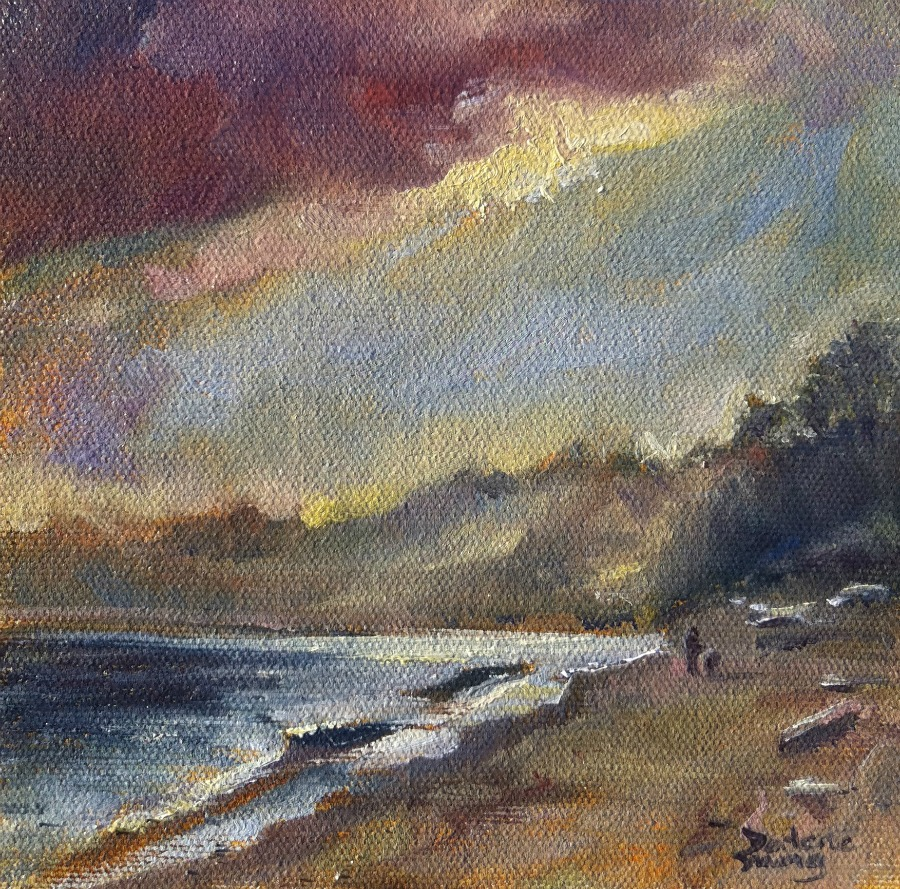 """Esquimalt Lagoon, oil on panel, 6x6"" original fine art by Darlene Young"
