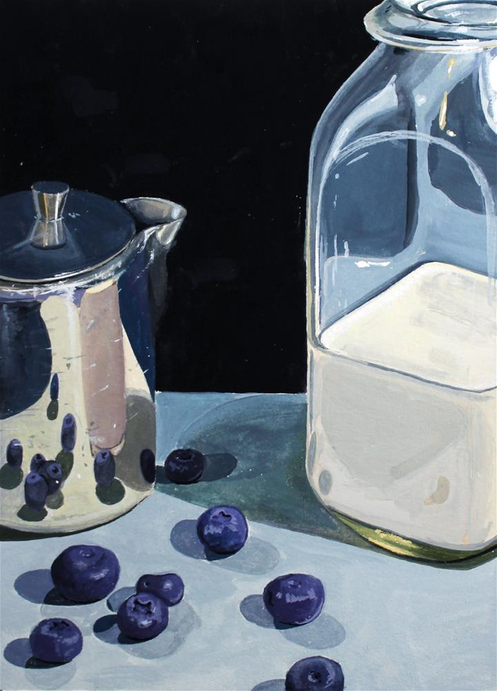 """Blueberries and Milk"" original fine art by Brandy Woodford"