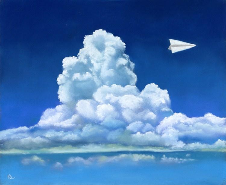 """""""Paper Airplane"""" original fine art by Ria Hills"""