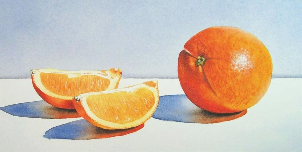 """""""Orange and Two Slices"""" original fine art by Jacqueline Gnott, TWSA, WHS"""