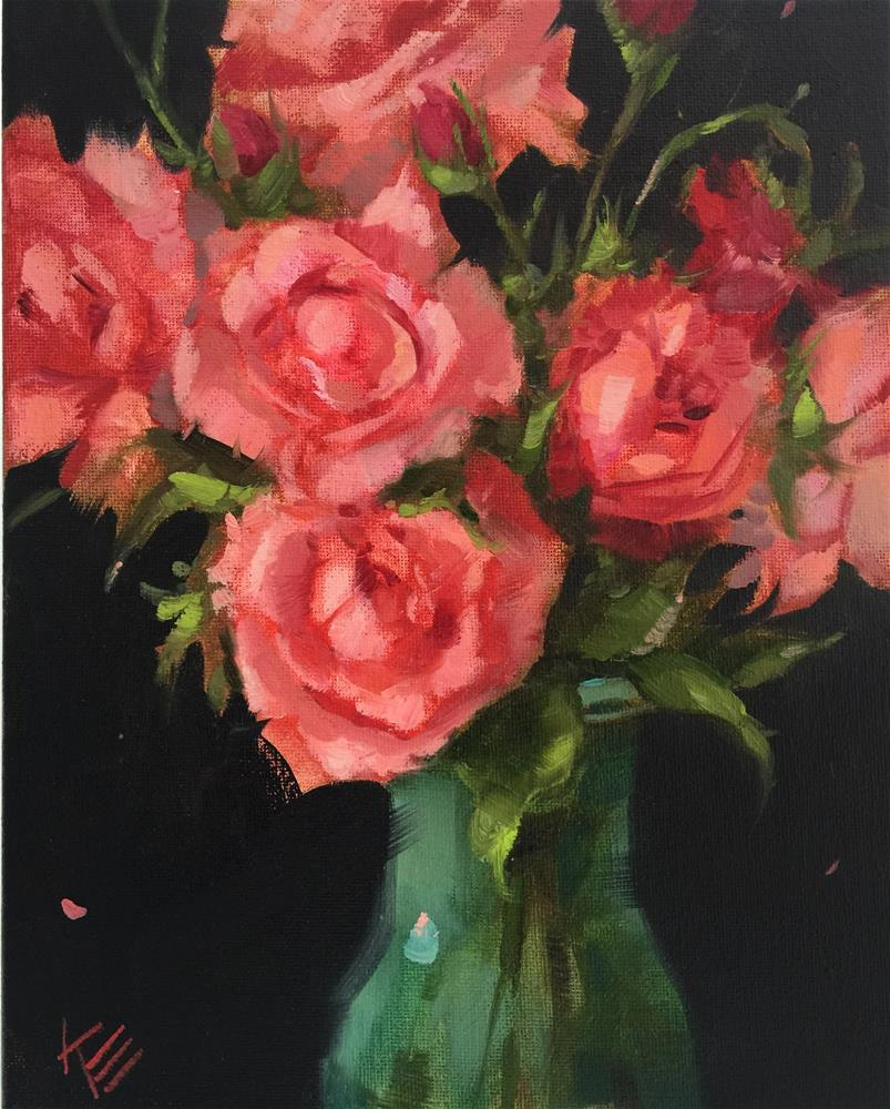 """""""Pink Roses 8x10 oil on canvas"""" original fine art by Krista Eaton"""