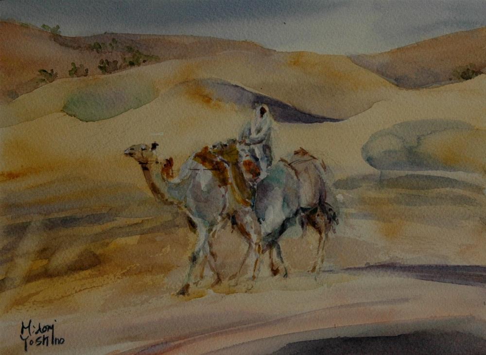 """From Al Ain Camel racetrack 1"" original fine art by Midori Yoshino"