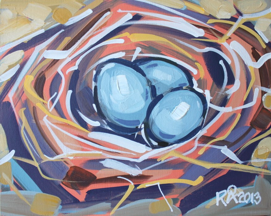 """Bird's Nest Abstraction 12"" original fine art by Roger Akesson"