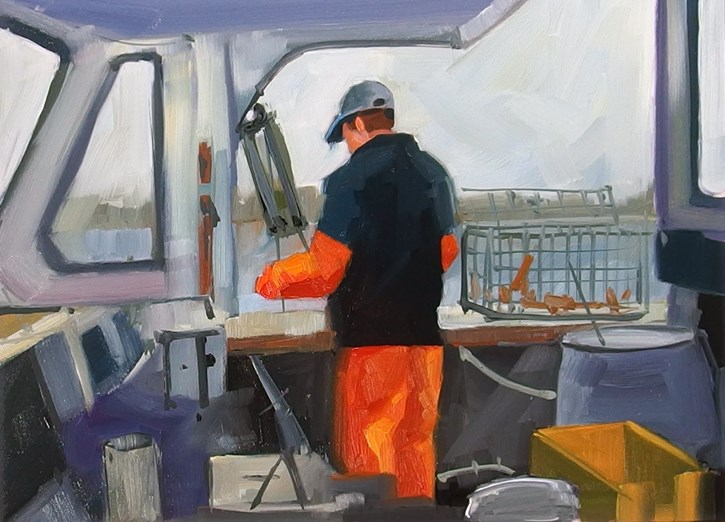 """No 818 Bringing in the Pots"" original fine art by Robin J Mitchell"