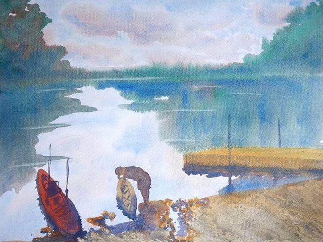 """Quittin' Time"" original fine art by Maria Peagler"