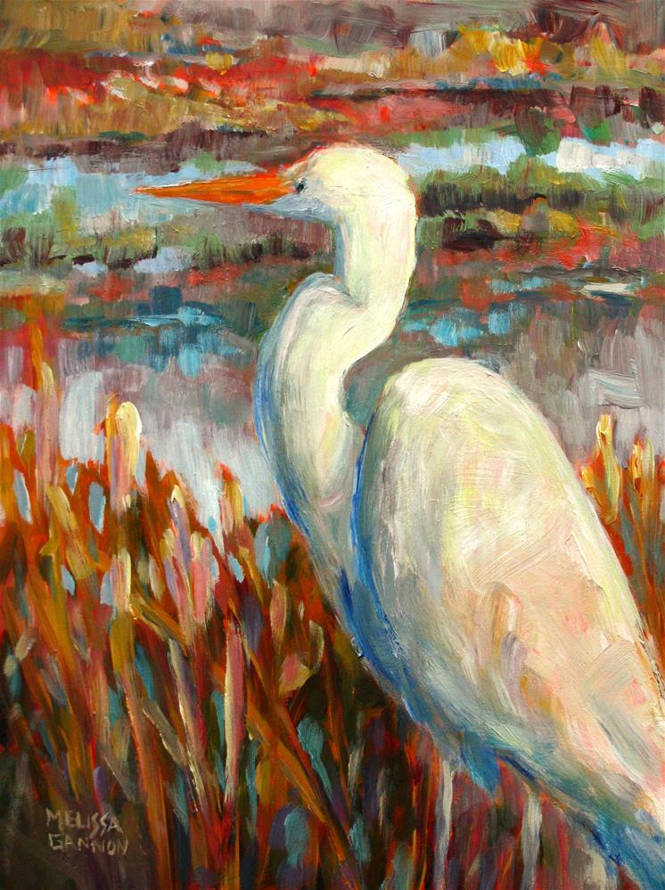 """Egret at Home"" original fine art by Melissa Gannon"