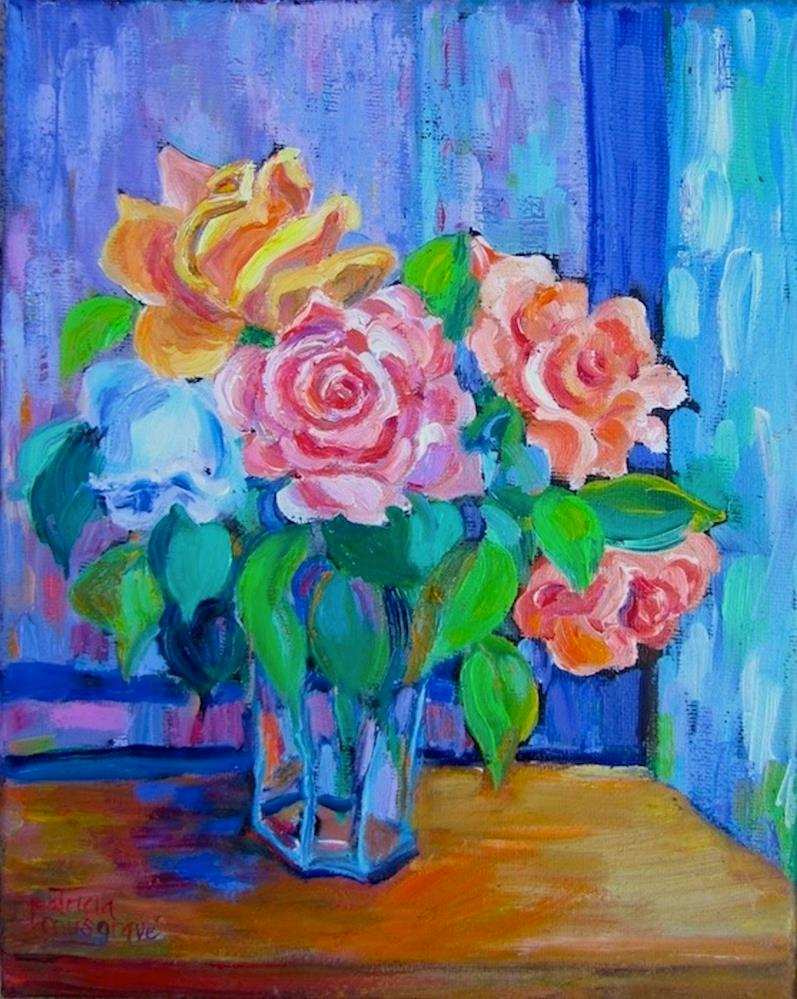 """""""Painted Roses"""" original fine art by Patricia Musgrave"""