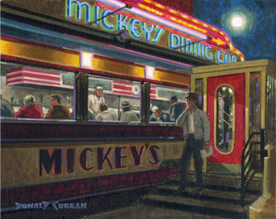 """Mickey's Dining Car"" original fine art by Donald Curran"