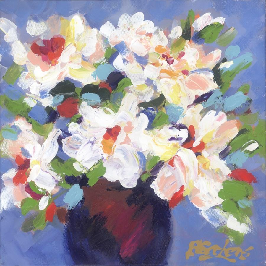 """White on Blue"" original fine art by Pamela Gatens"