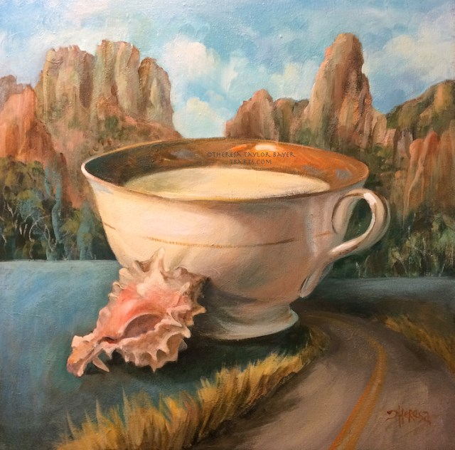 """Wilderness Teacup"" original fine art by Theresa Taylor Bayer"