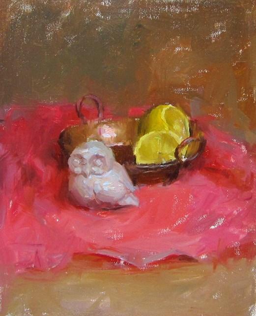 """""""owl with lemon"""" original fine art by Taisia Kuklina"""