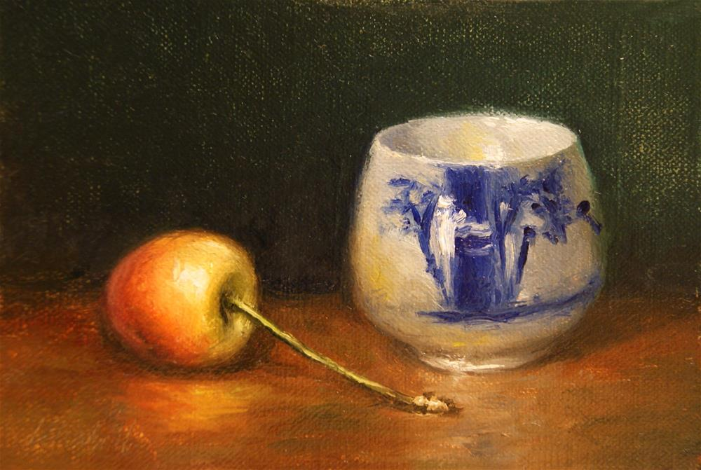 """Rainier Cherry with Blue and White Cup,  Oil on 4x6 Linen Panel"" original fine art by Carolina Elizabeth"