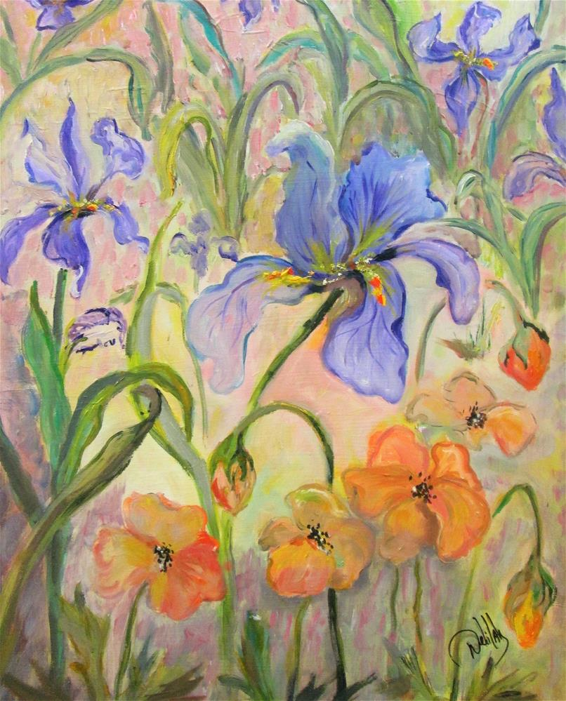 """""""Poppies and Iris"""" original fine art by Delilah Smith"""