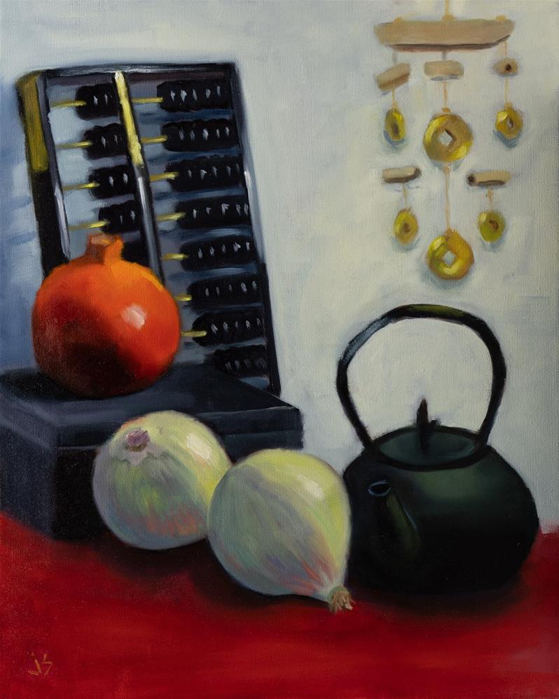 """Far East Charms: Prosperity, Success, Abundance (20x16)"" original fine art by Johnna Schelling"