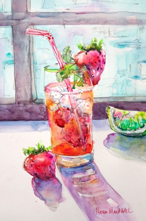 """Bendy Straw-Berry"" original fine art by Nora MacPhail"