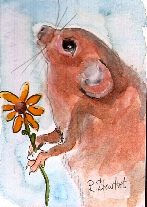 """ACEO Field Mouse with flower Painting Art Illustration WC & Pen by Penny StewArt"" original fine art by Penny Lee StewArt"