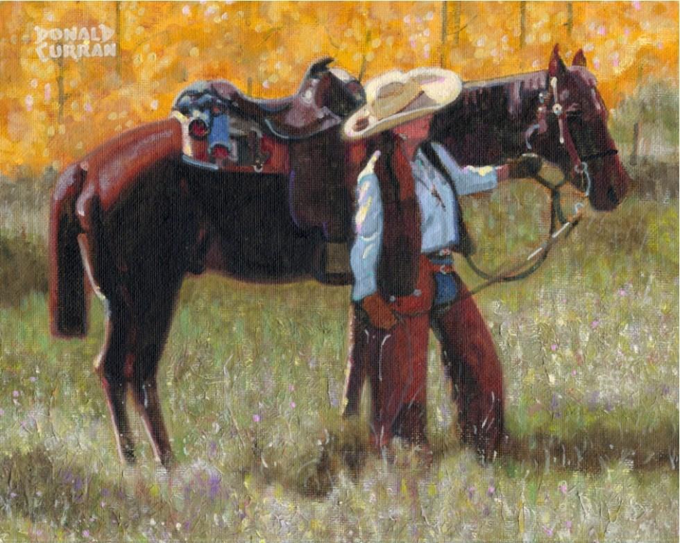 """Cowgirl"" original fine art by Donald Curran"