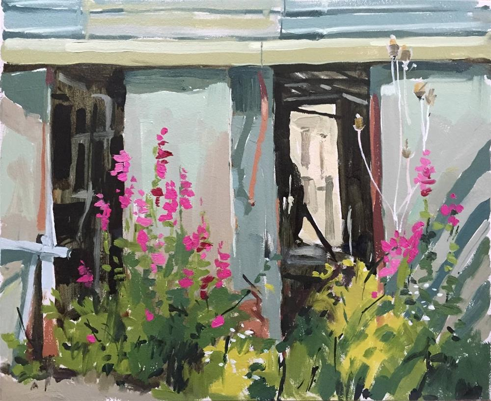 """""""Old milking parlour and snapdragons"""" original fine art by Haidee-Jo Summers ROI"""