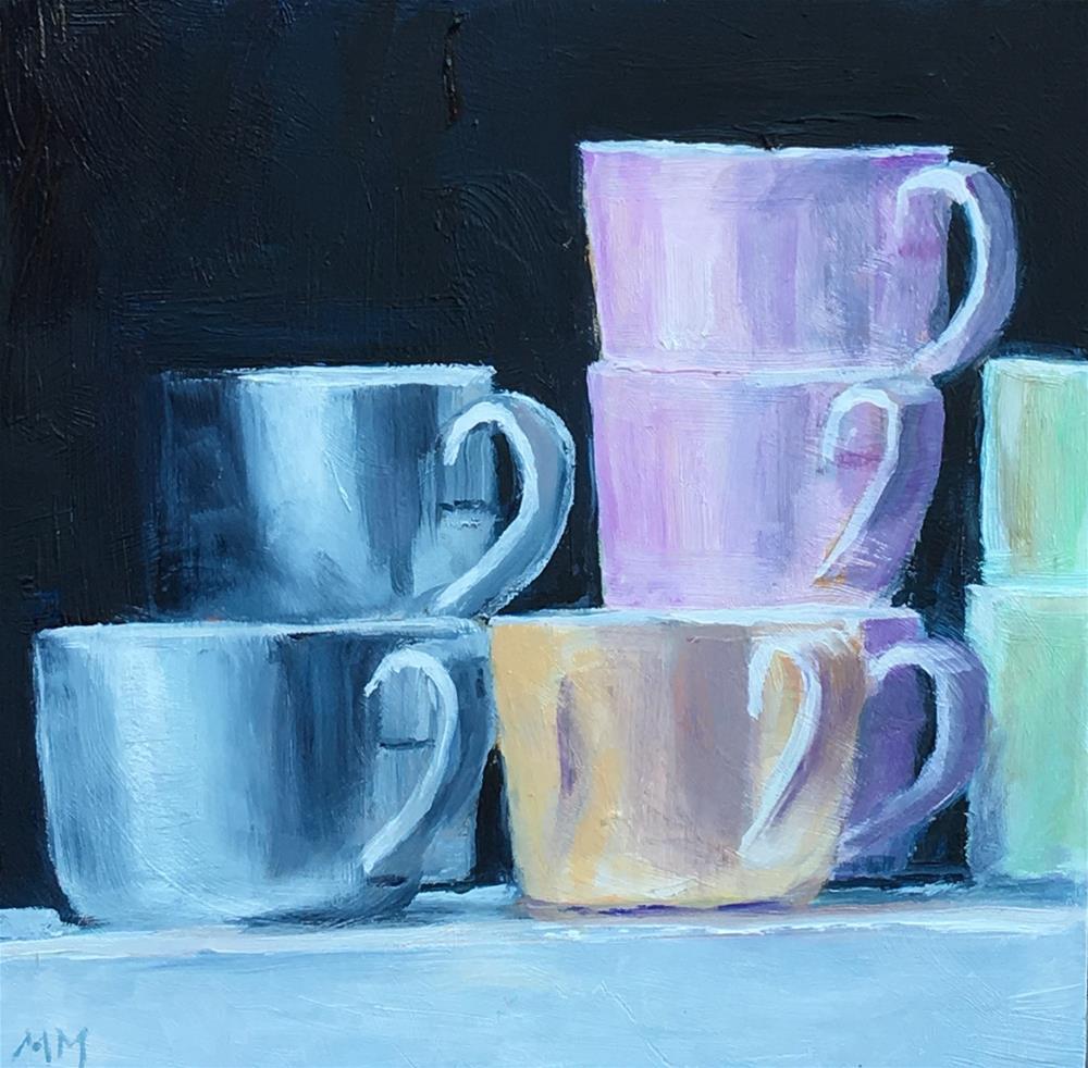 """Pastel Cups"" original fine art by Maria McNitt"