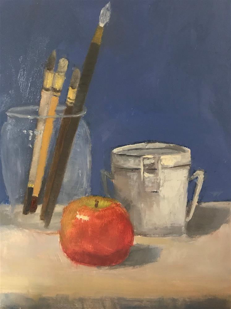 """I will have an apple before I paint"" original fine art by Betty Argiros"