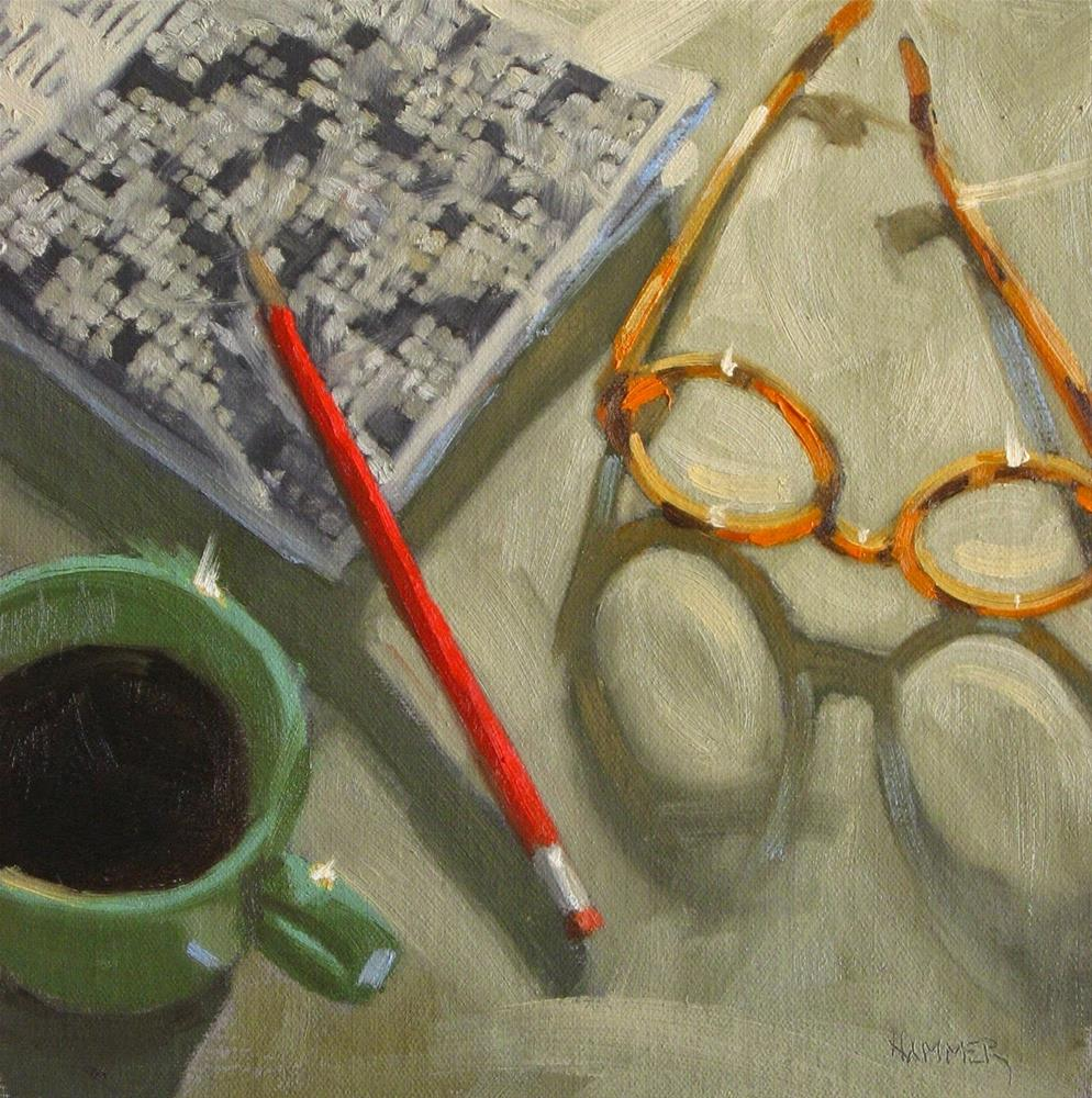 """Finishing a Crossword  8 x 8  oil"" original fine art by Claudia Hammer"