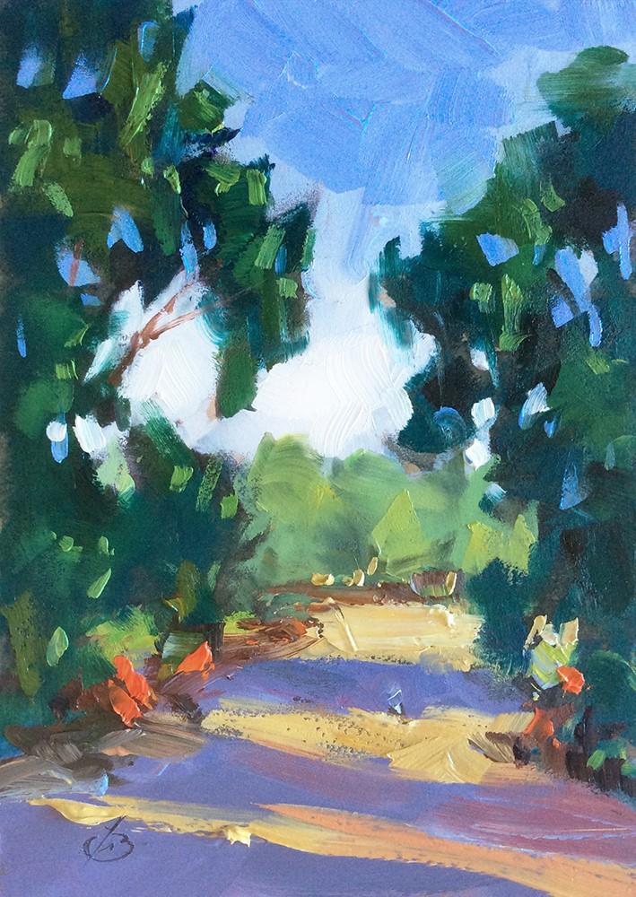 """WALKING PATH IN SUNSHINE"" original fine art by Tom Brown"
