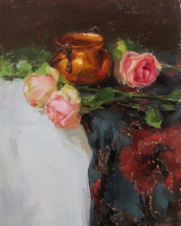 """roses with brass pot"" original fine art by Taisia Kuklina"