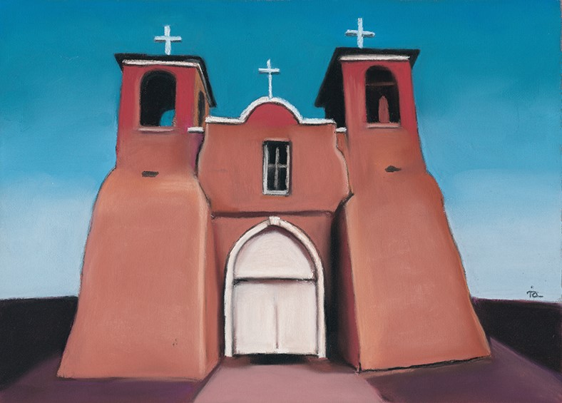 """Taos, NM church"" original fine art by Ria Hills"