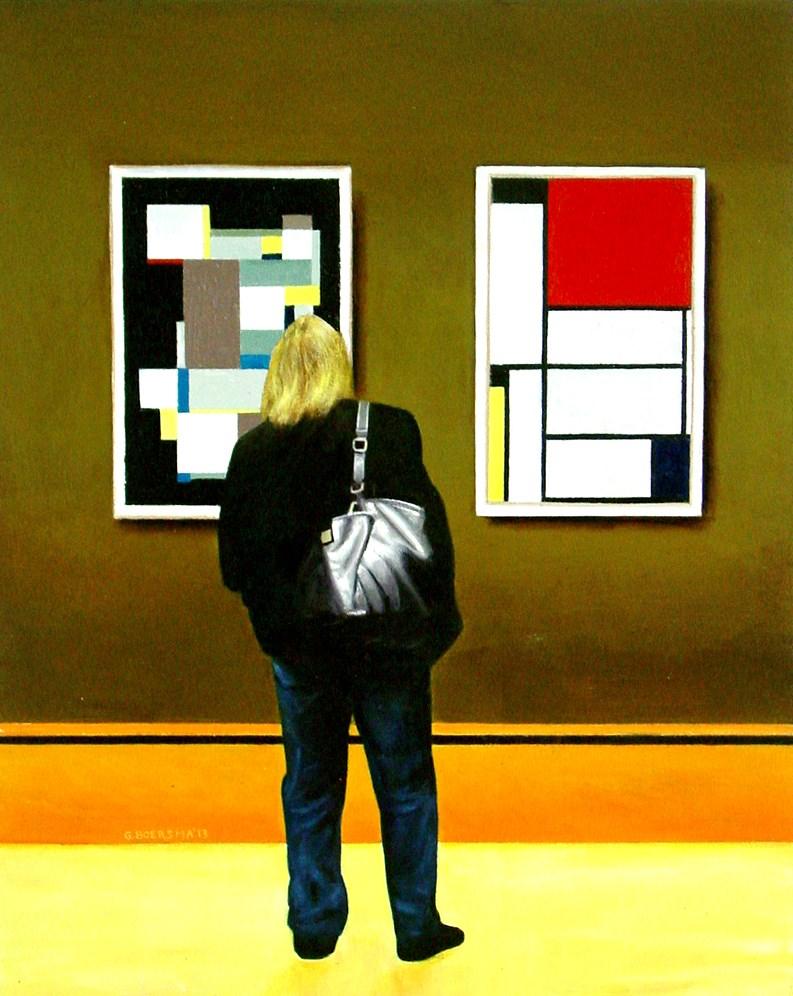 """Stylish- Art Within Art Painting Of Woman Enjoying Carl Buchheister And Piet Mondriaan"" original fine art by Gerard Boersma"