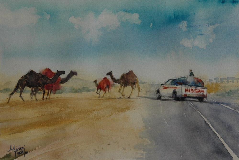 """Red blankets"" original fine art by Midori Yoshino"
