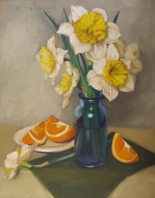 """Blue Jar with Daffodils 14x11 original painting"" original fine art by Diane Hoeptner"